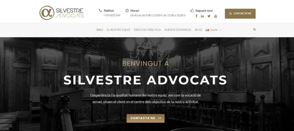 Imatge d'inici del nou web de Silvestre Advocats.