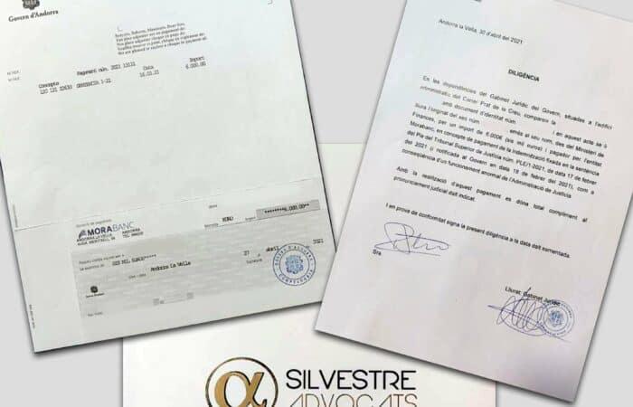 Diligència cobrament indemnització de 6.000 euros per mal funcionament de la Justícia